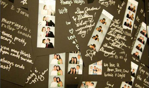 scrapbook pages from a wedding photo booth